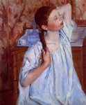 girl arranging her hair by mary cassatt painting