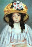 girl in a large hat by mary cassatt painting