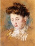 head of julie looking down by mary cassatt painting