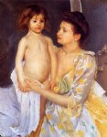 jules being dried by his mother by mary cassatt painting