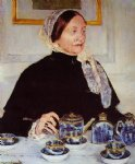 lady at the tea table by mary cassatt painting