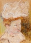 leontine in a pink fluffy hat by mary cassatt painting