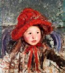 little girl in a large red hat by mary cassatt painting