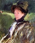 lydia cassatt in a green bonnet and a coat by mary cassatt painting-28882