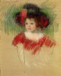margot in big bonnet and red dress ii by mary cassatt painting-28890