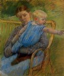 mathilde holding a baby who reaches out to the right by mary cassatt painting