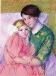 mother and child reading by mary cassatt painting