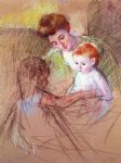 mother and daughter looking at the baby by mary cassatt painting