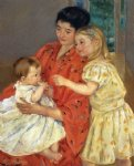 mother and sara admiring the baby by mary cassatt painting