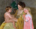 mother and two children by mary cassatt painting