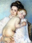 mother berthe holding her baby by mary cassatt painting