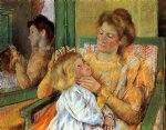 mother combing her child s hair by mary cassatt painting