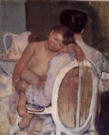 mother holding a child in her arms by mary cassatt painting