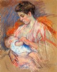 mother jeanne nursing her baby by mary cassatt painting