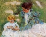 mother playing with her child by mary cassatt painting