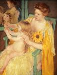 mother wearing a sunflower on her dress by mary cassatt painting