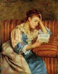 mrs. duffee seated on a striped sofa reading by mary cassatt painting