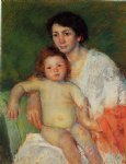 nude baby on mother s lap resting her arm on the back of the chair by mary cassatt painting