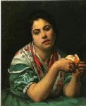 peasant woman peeling an orange by mary cassatt painting