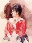 profile of an italian woman by mary cassatt painting