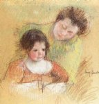 reine leaning over margot s shoulder by mary cassatt painting