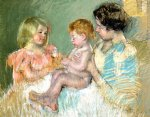 sara and her mother with the baby by mary cassatt painting