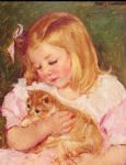 sara holding a cat by mary cassatt painting