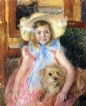 dog oil paintings - sara in a large flowered hat looking right holding her dog by mary cassatt