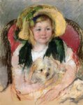 dog oil paintings - sara with her dog in an armchair wearing a bonnet with a plum ornament by mary cassatt