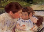 susan comforting the baby no.1 by mary cassatt painting