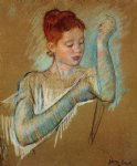 the long gloves by mary cassatt painting