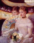 mary cassatt two women in a theater box painting