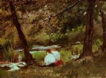 mary cassatt two women seated by a woodland stream painting