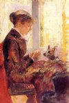 mary cassatt woman by a window feeding her dog painting