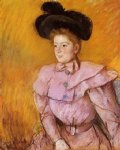 mary cassatt woman in a black hat and a raspberry pink costume painting