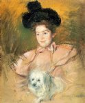 woman in raspberry costume holding a dog by mary cassatt painting