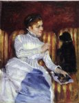 mary cassatt woman on a striped with a dog painting