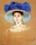 woman s head with large hat ii by mary cassatt painting
