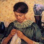 woman sewing by mary cassatt painting