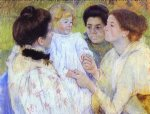 women admiring a child by mary cassatt painting