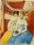 women in a loge by mary cassatt painting