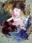 young girl holding a loose bouquet by mary cassatt painting