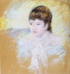 young girl with brown hair looking to left by mary cassatt painting
