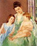 young mother and two children by mary cassatt painting