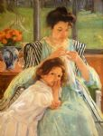 mary cassatt young mother sewing painting