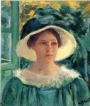 young woman in green outdoors in the sun by mary cassatt painting