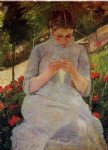 young woman sewing in a garden by mary cassatt painting