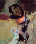 young woman sewing in the garden by mary cassatt painting