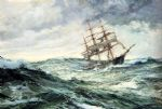 a ship in stormy seas by montague dawson painting
