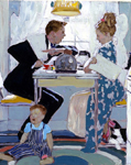 norman rockwell breakfast table political argument(1948) painting